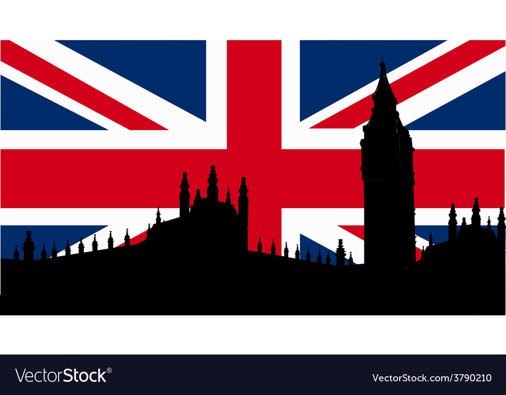 British design with big ben flag vector | Price: 1 Credit (USD $1)