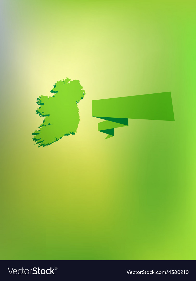 Card with contour of ireland and caption vector | Price: 1 Credit (USD $1)