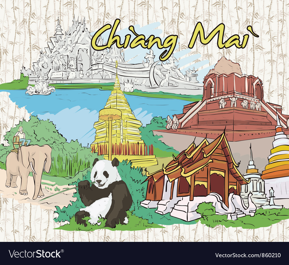 Chiang mai doodles vector | Price: 3 Credit (USD $3)