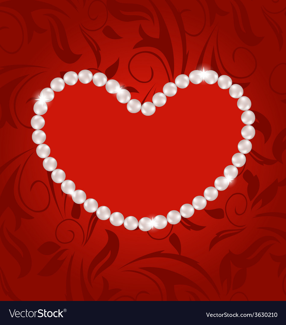 Floral postcard with heart made in pearls for vector | Price: 1 Credit (USD $1)