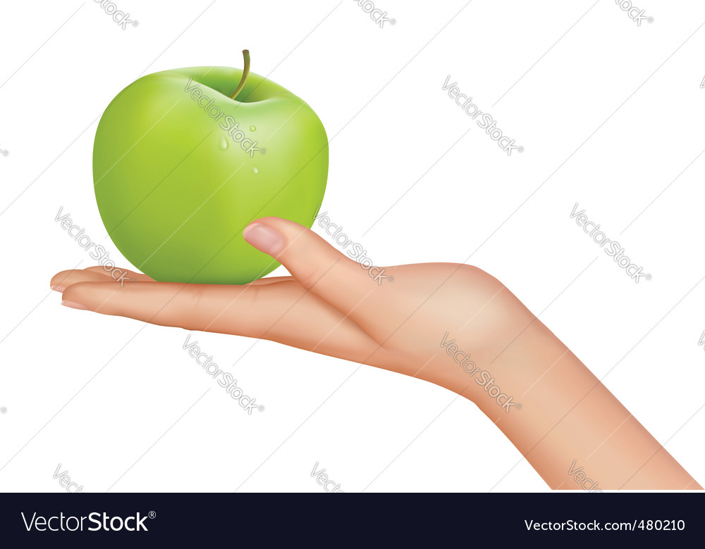 Hand with apple vector | Price: 3 Credit (USD $3)