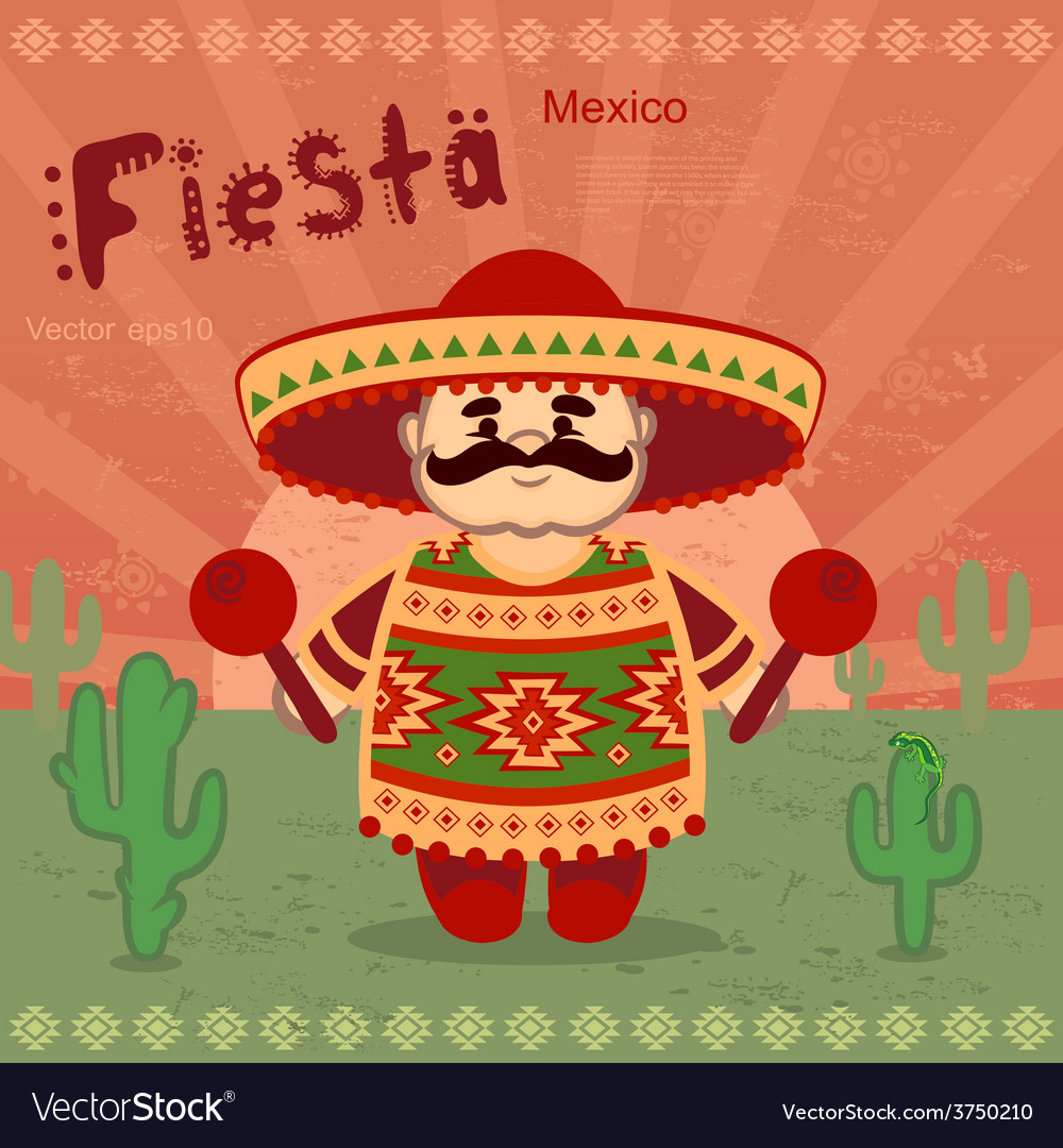 Mexican men on a retro background vector | Price: 3 Credit (USD $3)