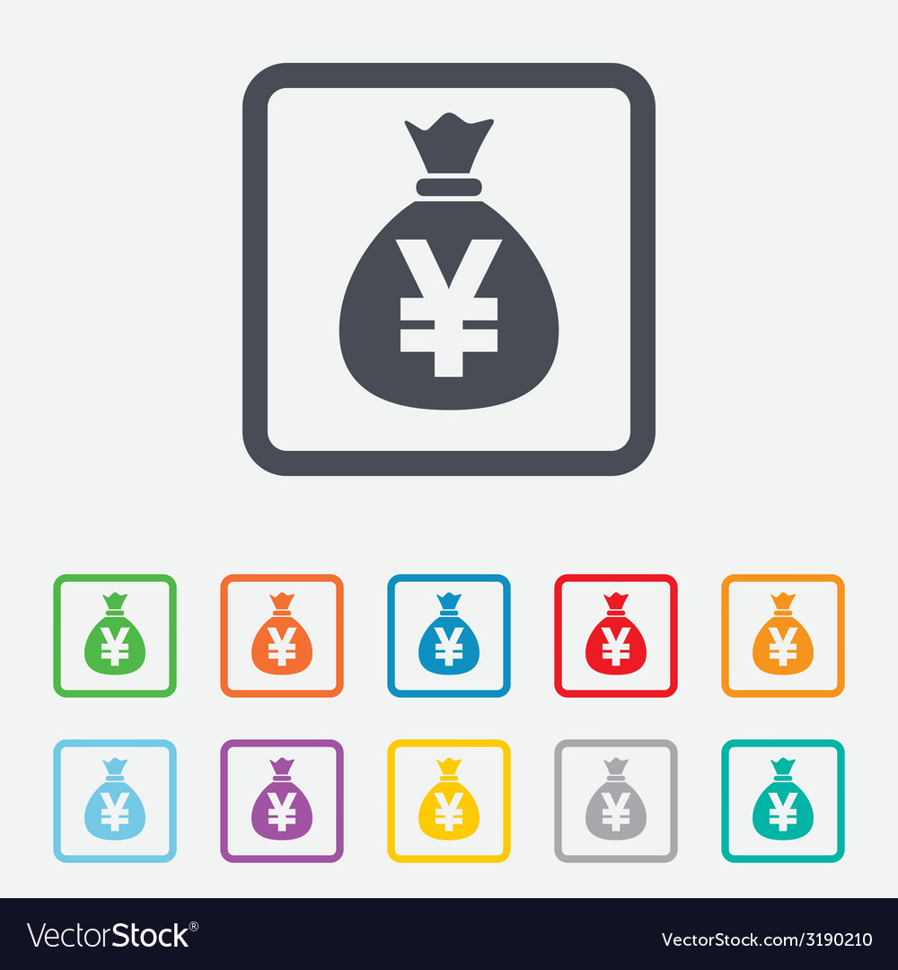 Money bag sign icon yen jpy currency vector | Price: 1 Credit (USD $1)