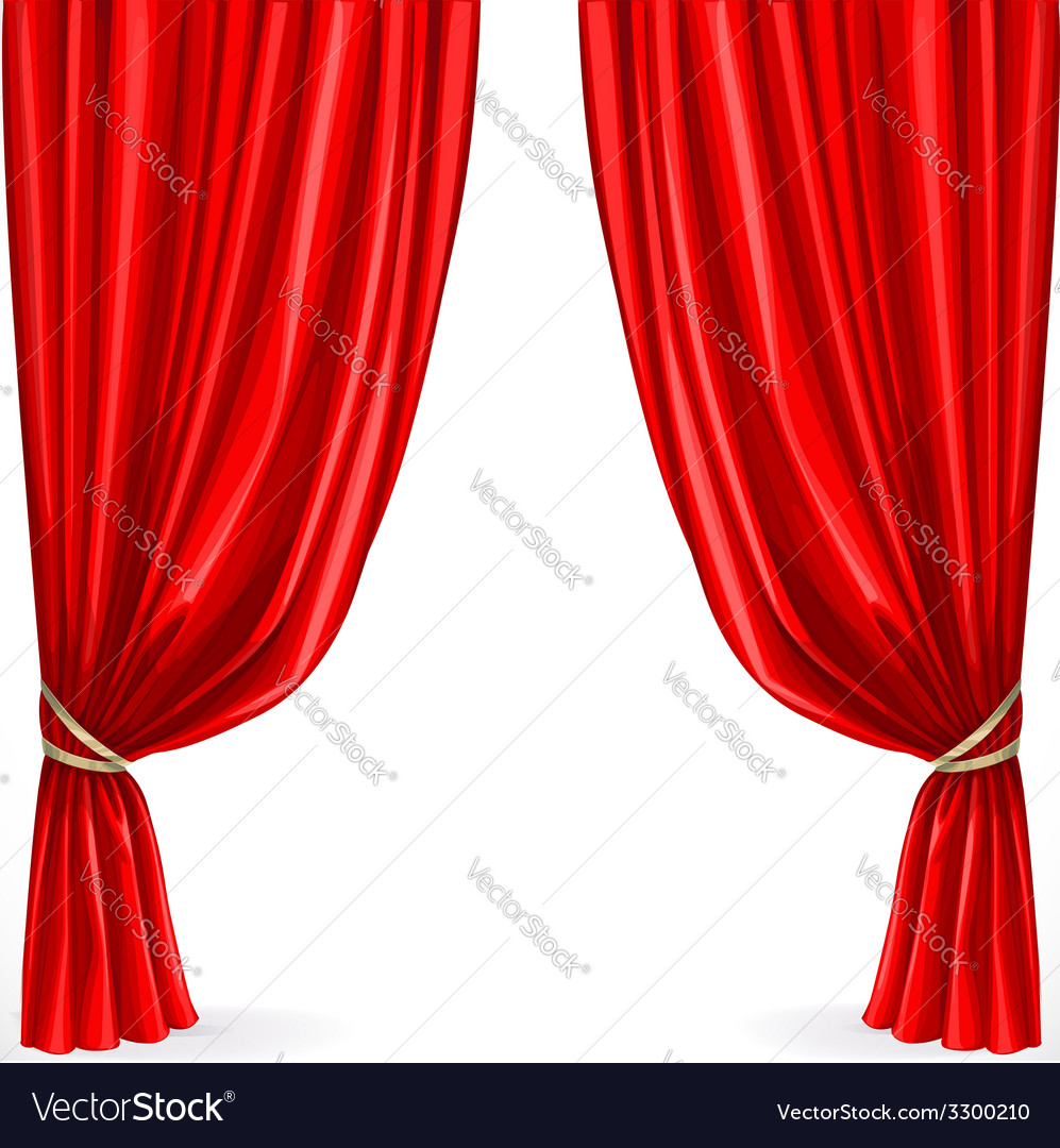 Red curtain isolated on a white background vector | Price: 1 Credit (USD $1)