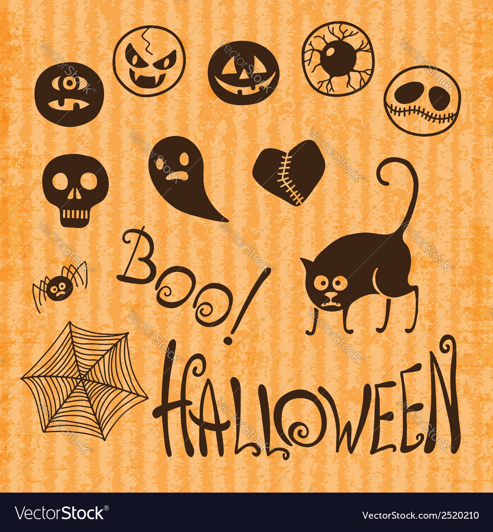 Set happy halloween vector | Price: 1 Credit (USD $1)