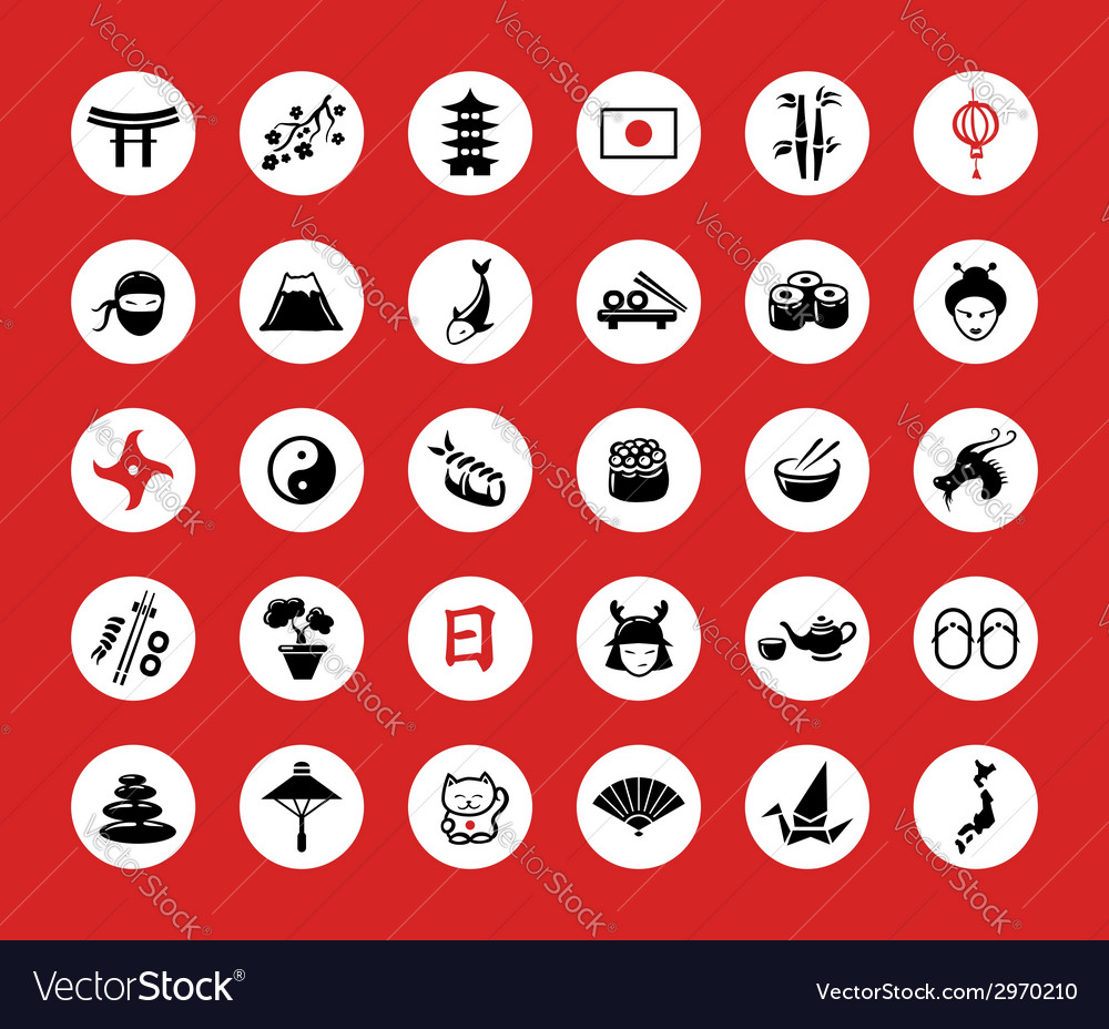 Set of flat design japanese icons vector | Price: 1 Credit (USD $1)