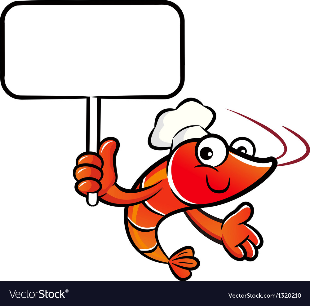 Shrimp chef the left hand is holding a picket vector | Price: 1 Credit (USD $1)