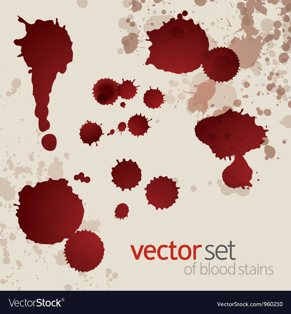 Splattered blood stains set 6 vector | Price: 1 Credit (USD $1)