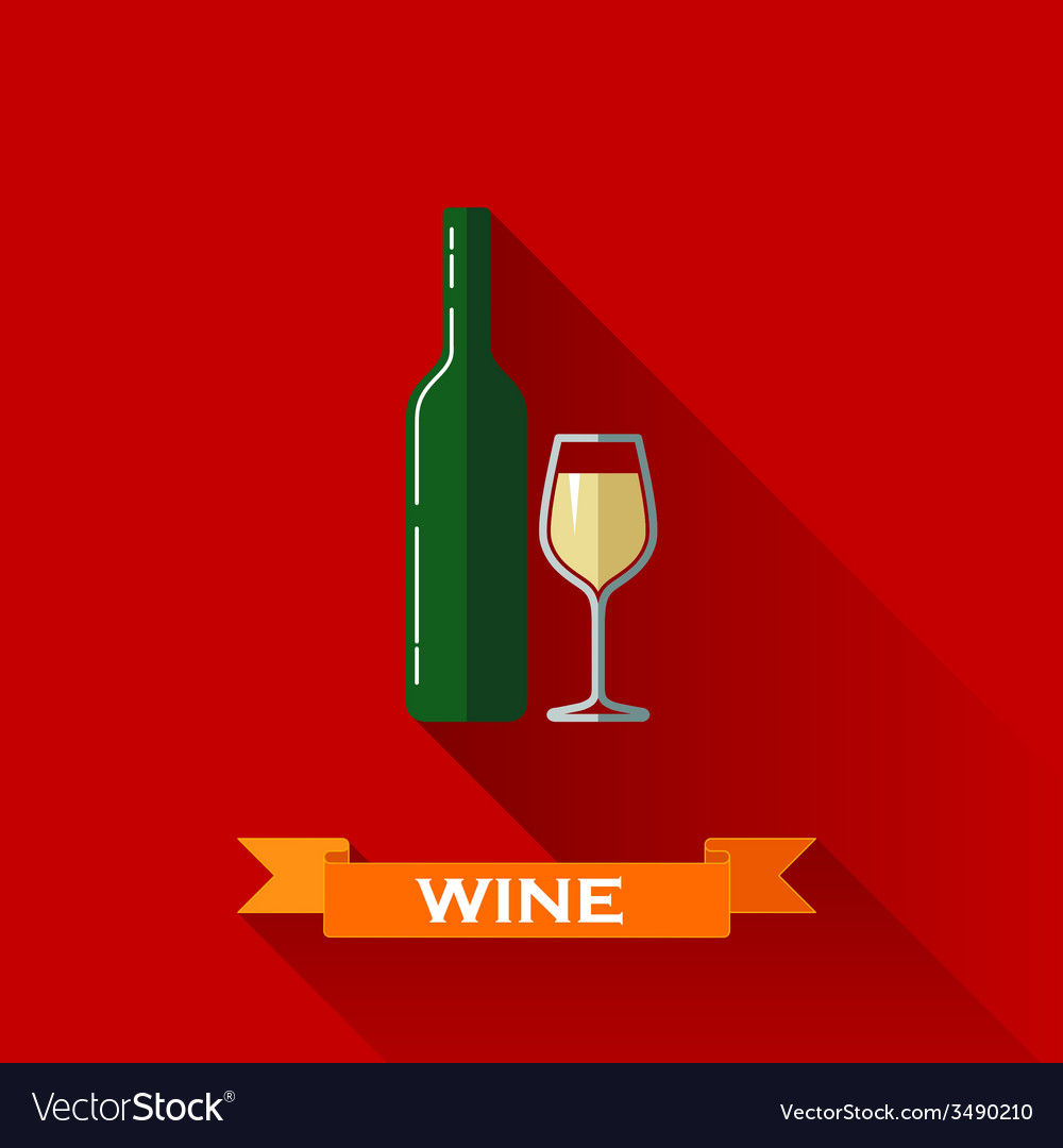 With a wineglass and a bottle of wine in flat vector | Price: 1 Credit (USD $1)