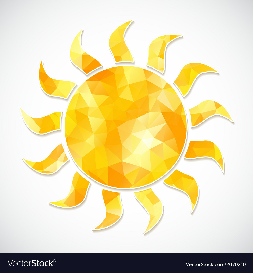 Yellow sun label of triangles vector | Price: 1 Credit (USD $1)