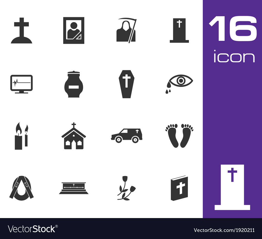 Black funeral icons set on white background vector | Price: 1 Credit (USD $1)
