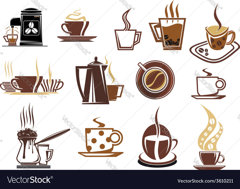 Brown coffee icons vector | Price: 1 Credit (USD $1)