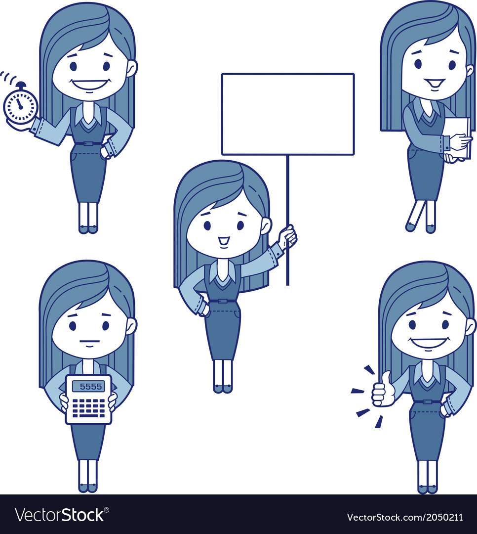 Five character business women vector | Price: 1 Credit (USD $1)