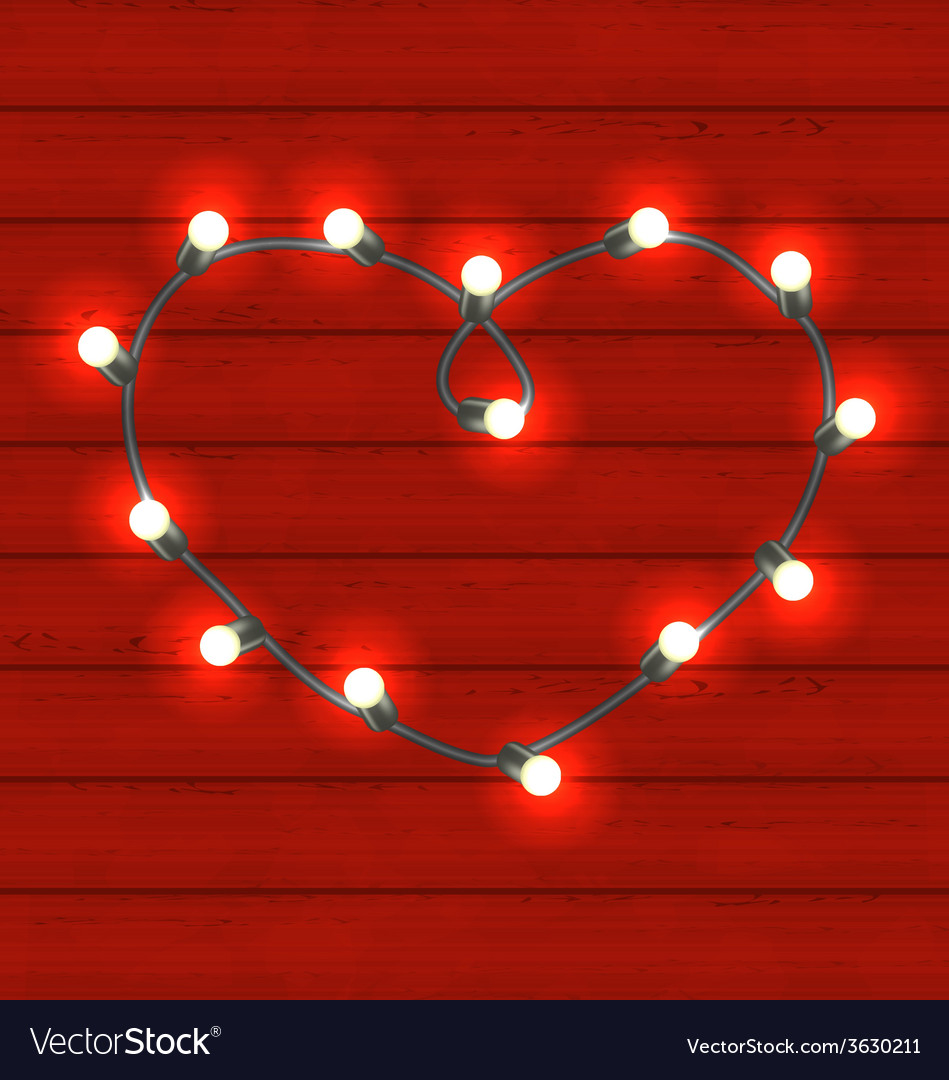 Garland heart shaped on red wooden background for vector | Price: 1 Credit (USD $1)