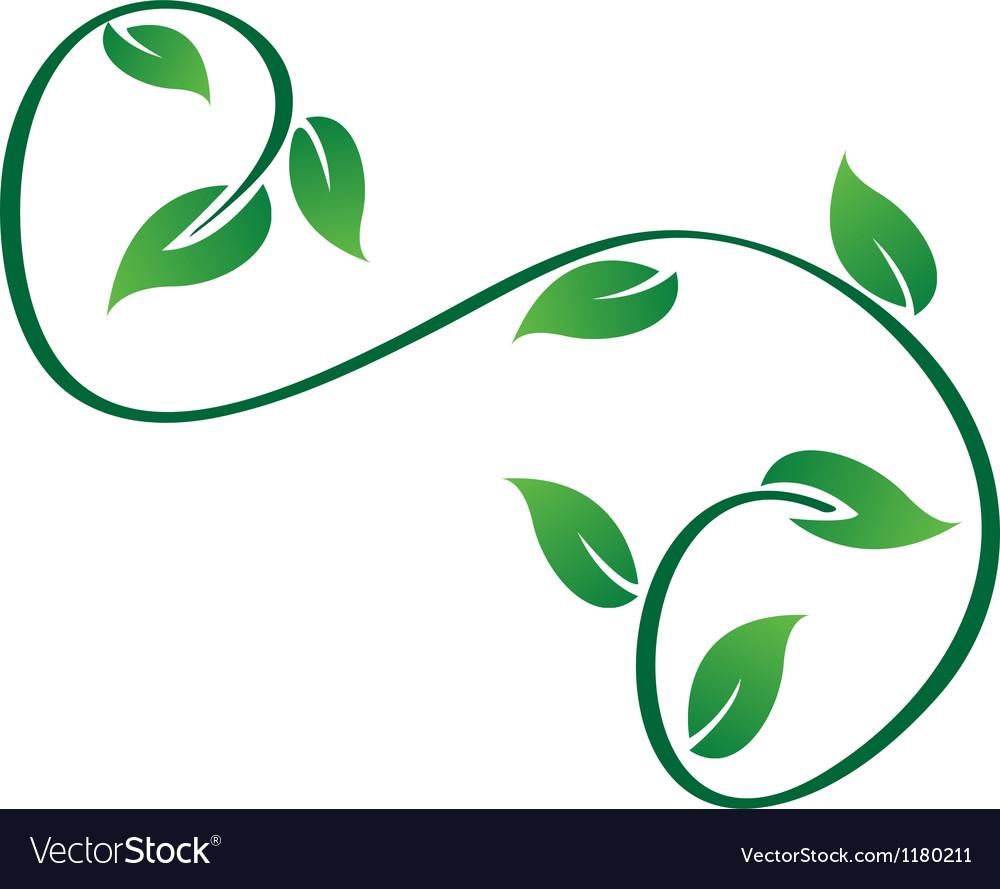 Green swirly leaves logo vector | Price: 1 Credit (USD $1)