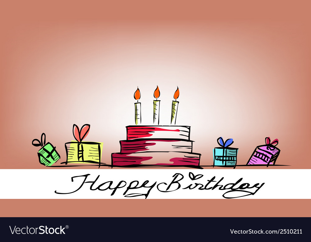 Happy birthday free handdrawing vector | Price: 1 Credit (USD $1)