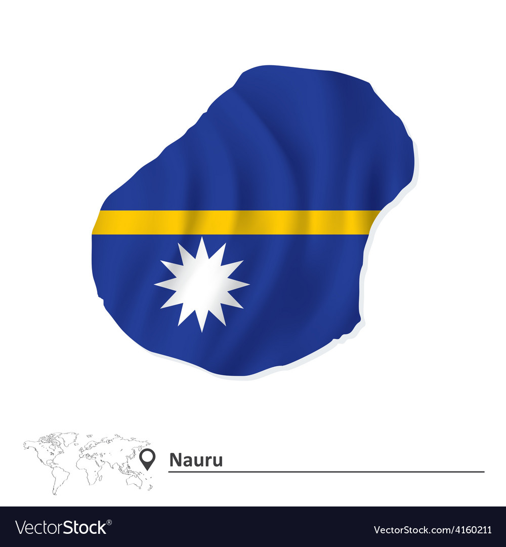 Map of nauru with flag vector | Price: 1 Credit (USD $1)