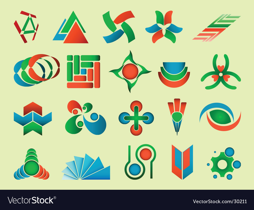 Set of abstract design elements vector | Price: 1 Credit (USD $1)