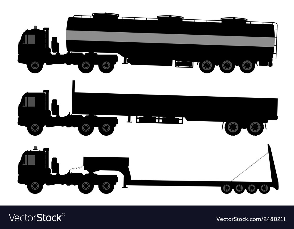 Set of silhouettes the cargo trucks vector | Price: 1 Credit (USD $1)