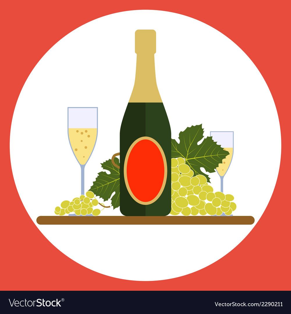 Sparkling wine bottle with wineglasses and grape vector | Price: 1 Credit (USD $1)