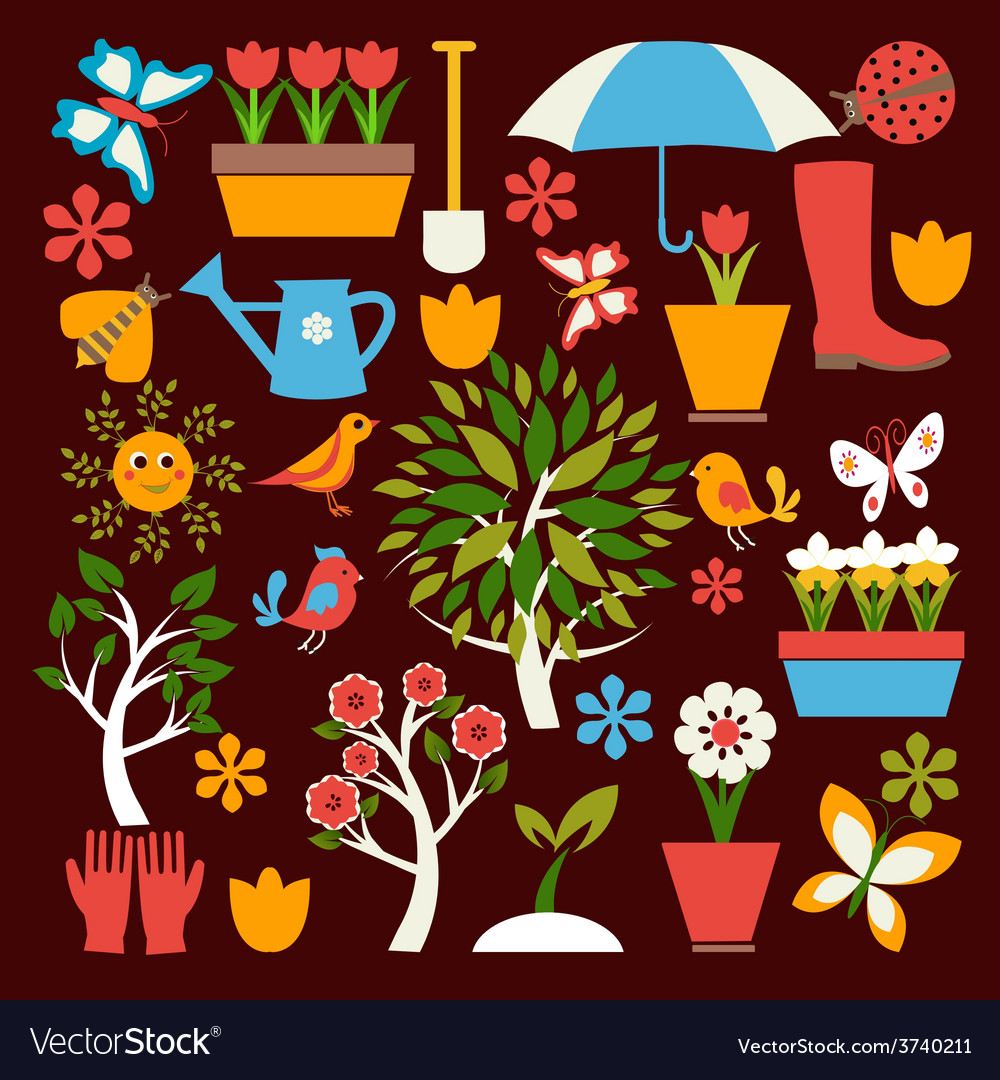 Spring symbol gardening vector | Price: 1 Credit (USD $1)