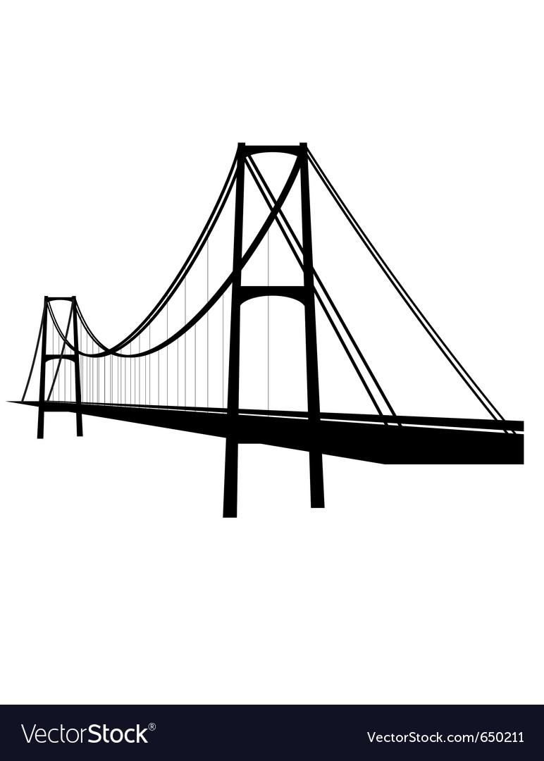 Suspension cable bridge vector