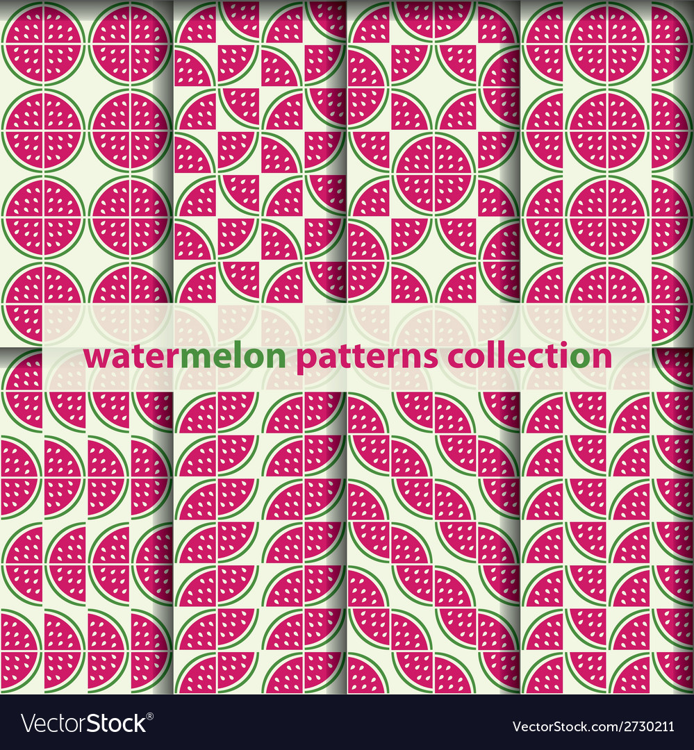 Watermelons seamless patterns vector | Price: 1 Credit (USD $1)