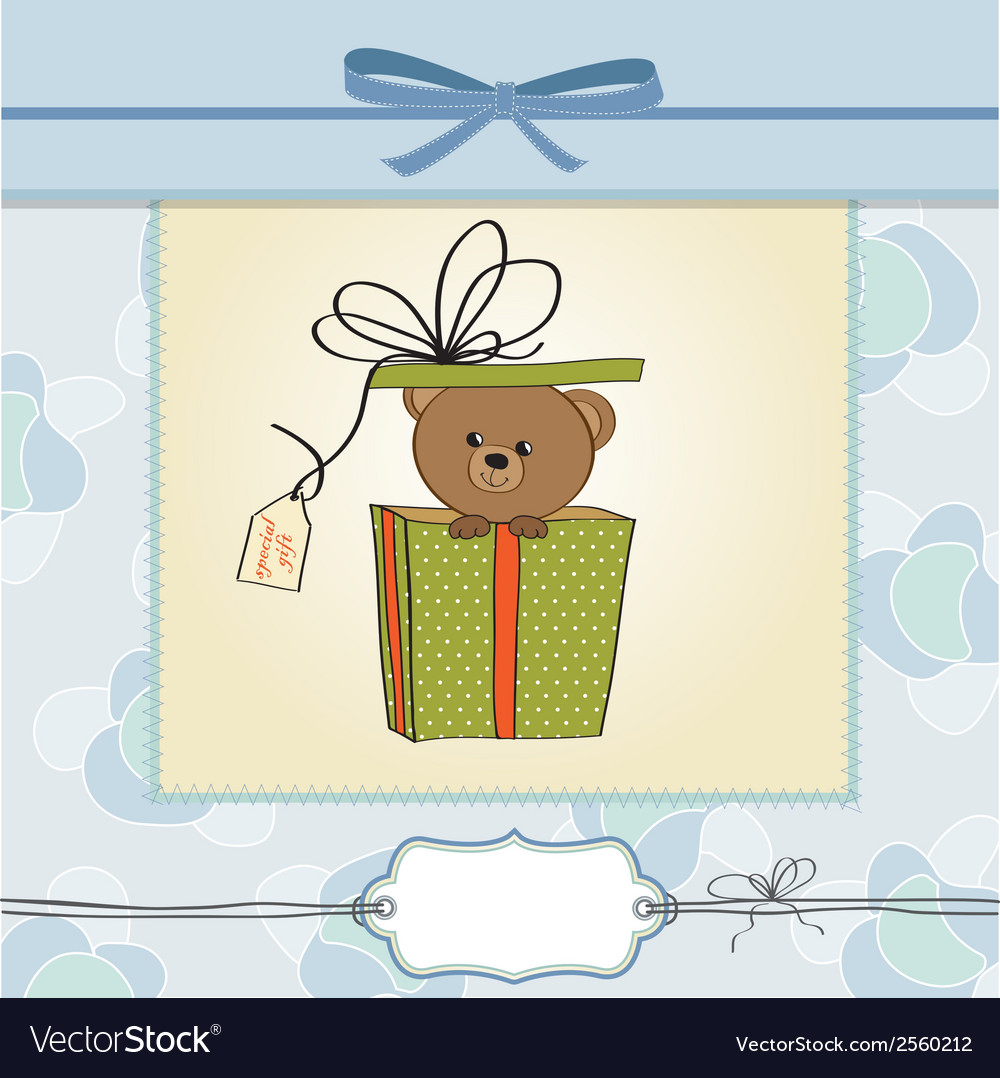Birthday greeting card with teddy bear vector | Price: 1 Credit (USD $1)