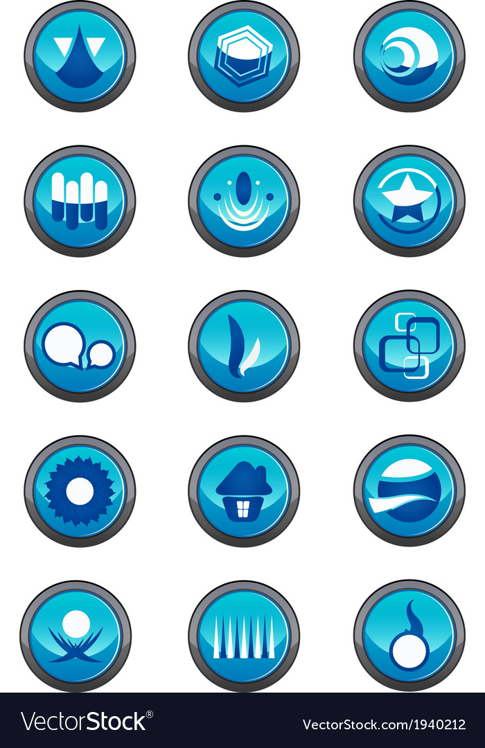 Blue logo elements in a round container vector | Price: 1 Credit (USD $1)