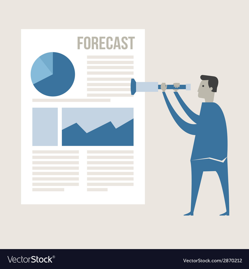 Business man use binnocular forecasting g vector | Price: 1 Credit (USD $1)
