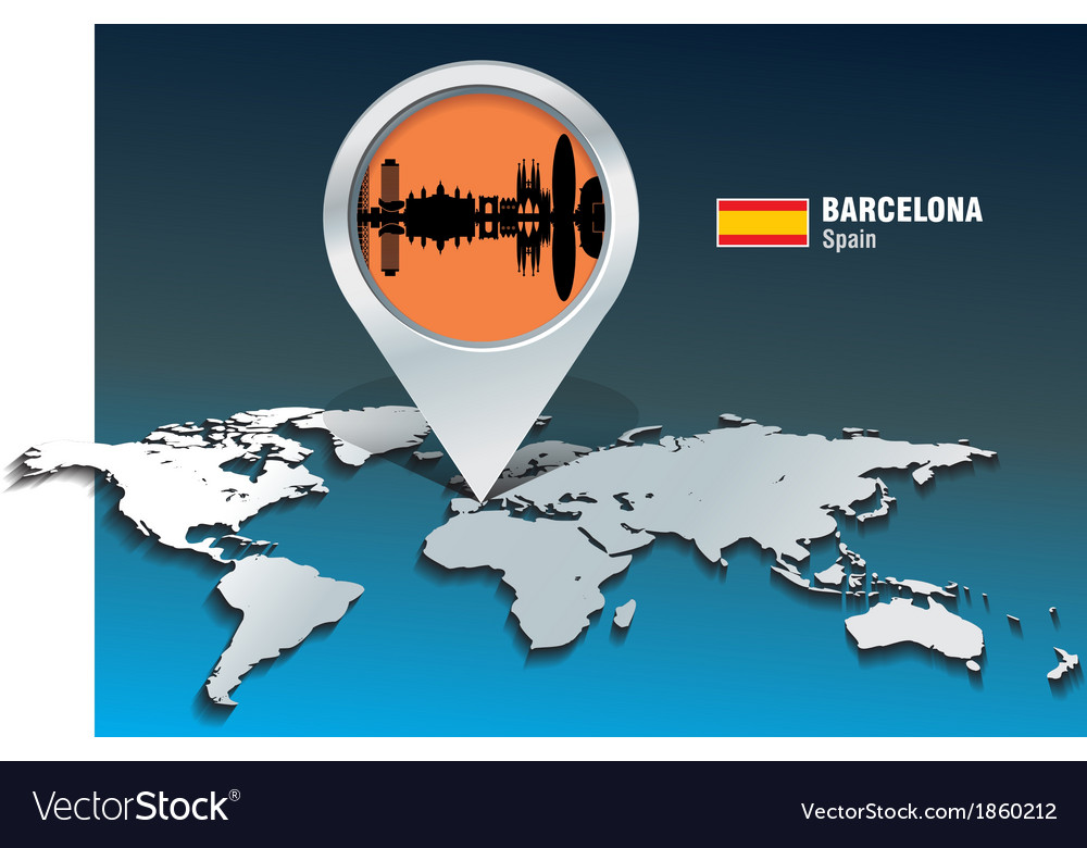 Map pin with barcelona skyline vector   Price: 1 Credit (USD $1)