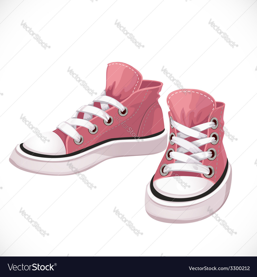 Pink sports sneakers with white laces vector | Price: 1 Credit (USD $1)