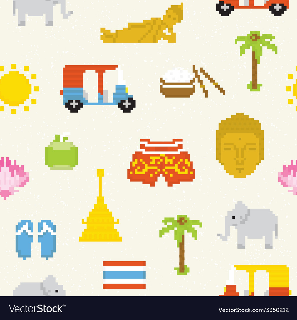 Pixel thailand seamless background vector | Price: 1 Credit (USD $1)
