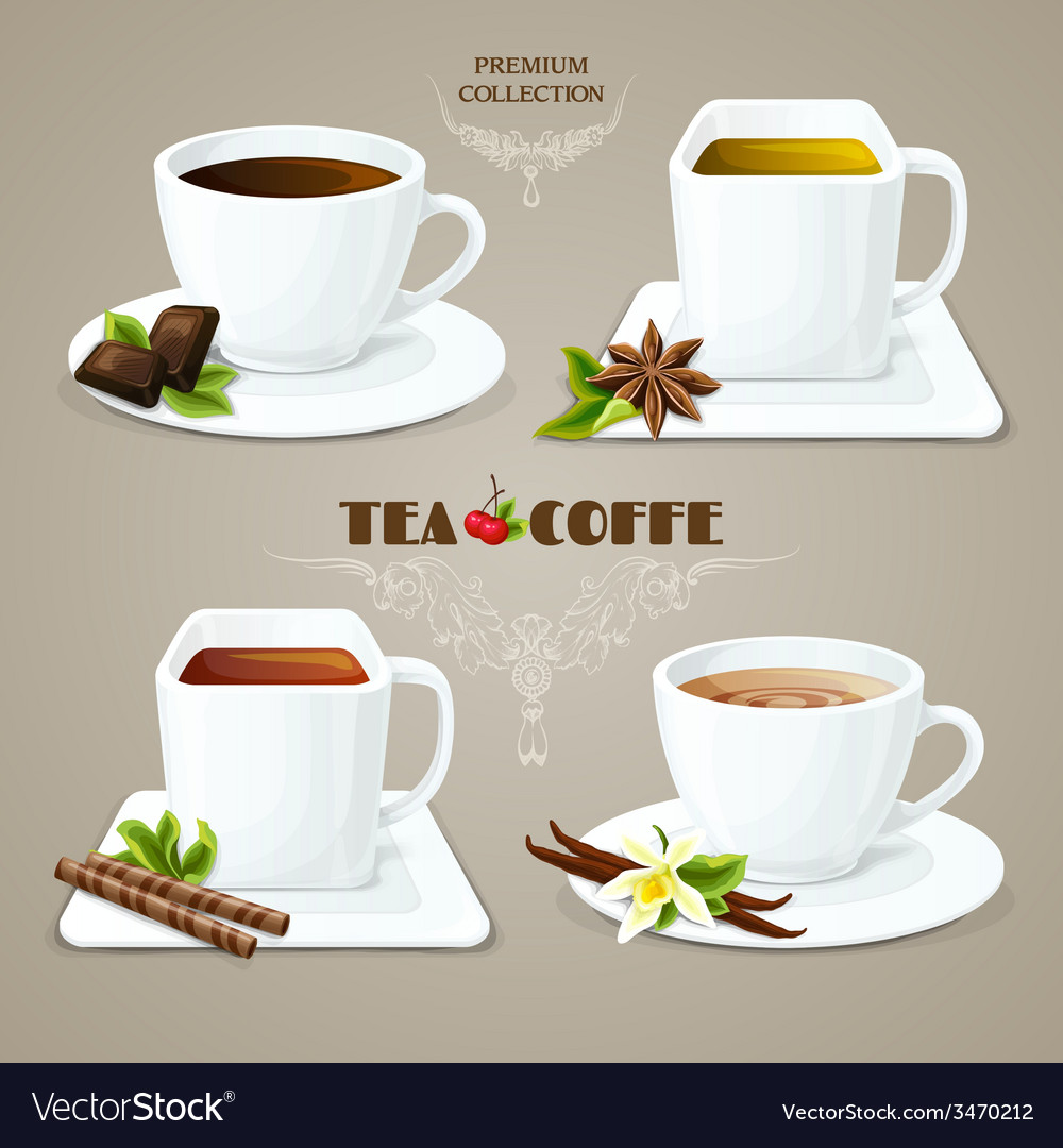 Tea and coffee cups set vector | Price: 1 Credit (USD $1)