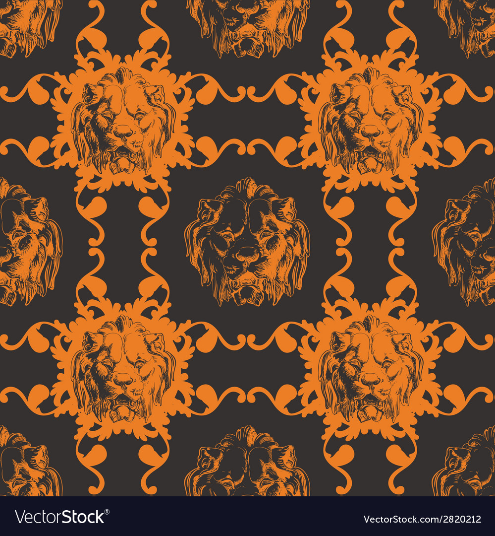 With lion and baroque ornaments in victorian style vector | Price: 1 Credit (USD $1)