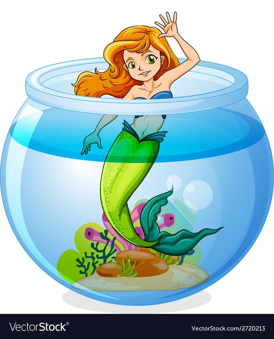 A mermaid inside the bowl vector | Price: 1 Credit (USD $1)
