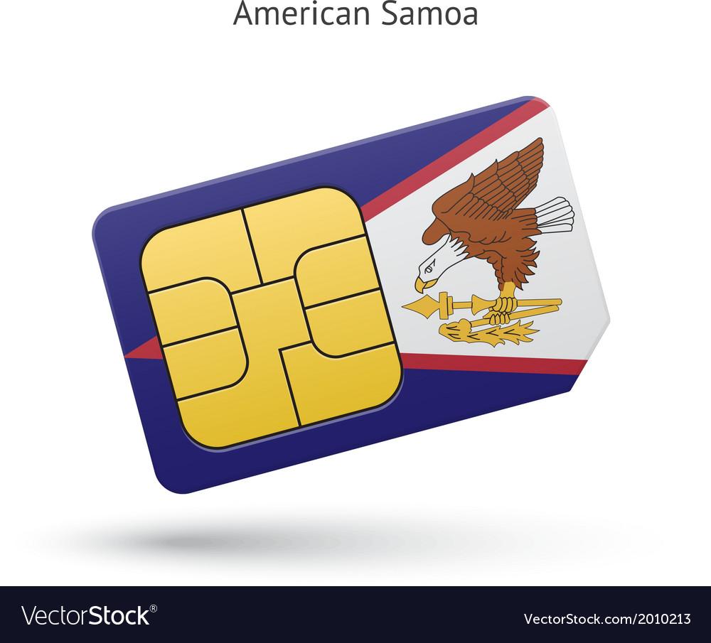 American samoa mobile phone sim card with flag vector | Price: 1 Credit (USD $1)