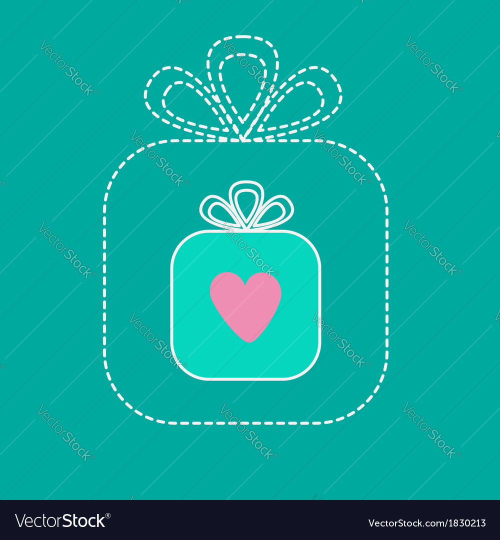 Big gift box and small gift box inside dash line vector | Price: 1 Credit (USD $1)