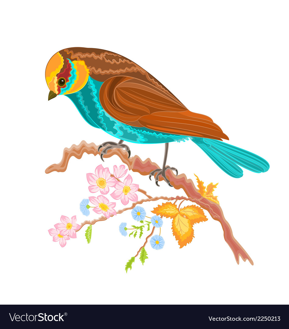 Birdie on a twig rosehip bushes vector | Price: 1 Credit (USD $1)