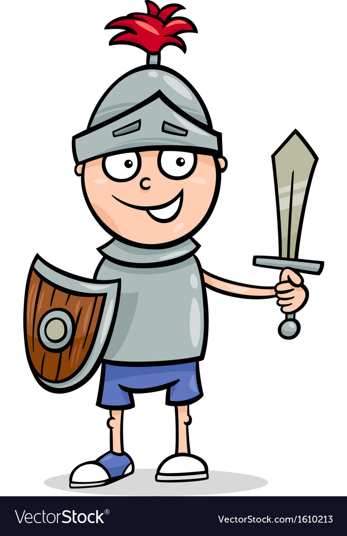 Boy in knight costume cartoon vector | Price: 1 Credit (USD $1)