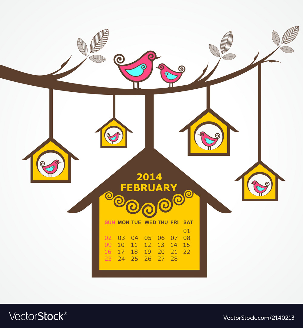 Calendar of february 2014 with birds sit on branch vector | Price: 1 Credit (USD $1)