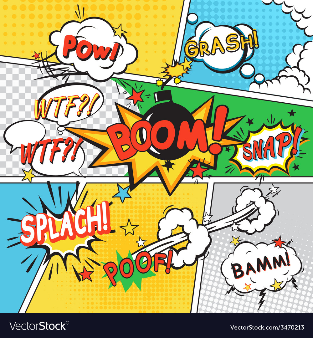 Comic set background vector | Price: 1 Credit (USD $1)