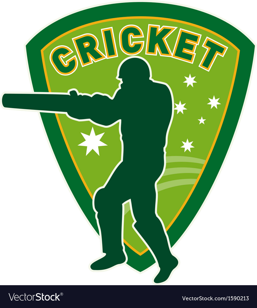 Cricket player batsman australia vector | Price: 1 Credit (USD $1)