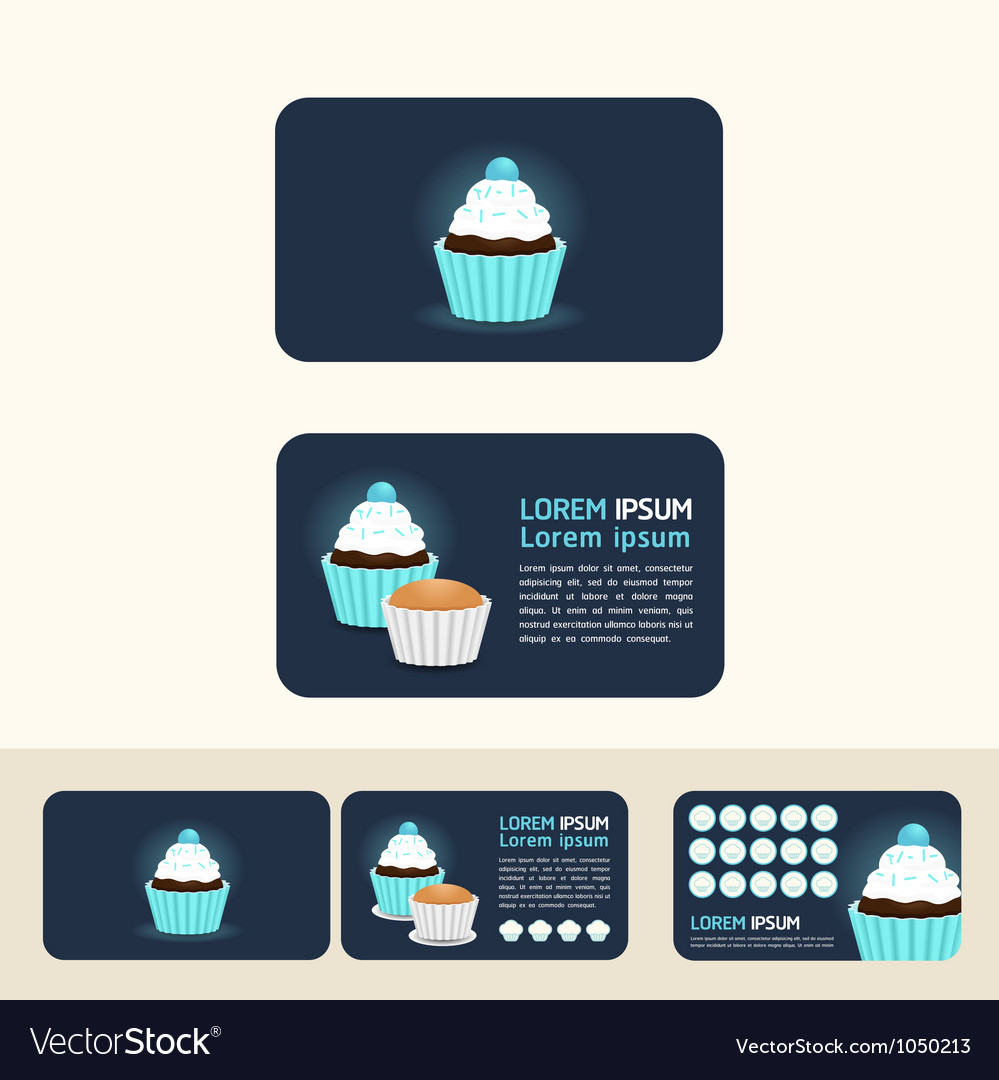 Cupcake blue color concept business cards discount vector | Price: 1 Credit (USD $1)