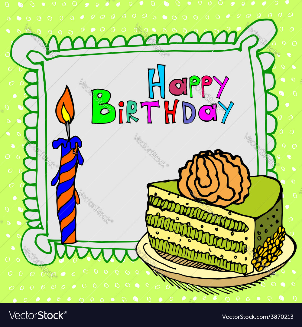 Cute happy birthday cake candle cardtion vector | Price: 1 Credit (USD $1)
