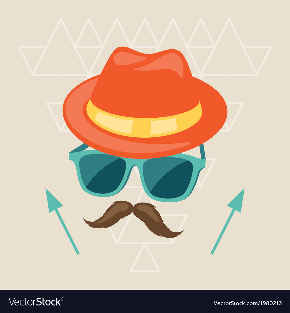 Design with hat glasses and mustache in hipster vector | Price: 1 Credit (USD $1)