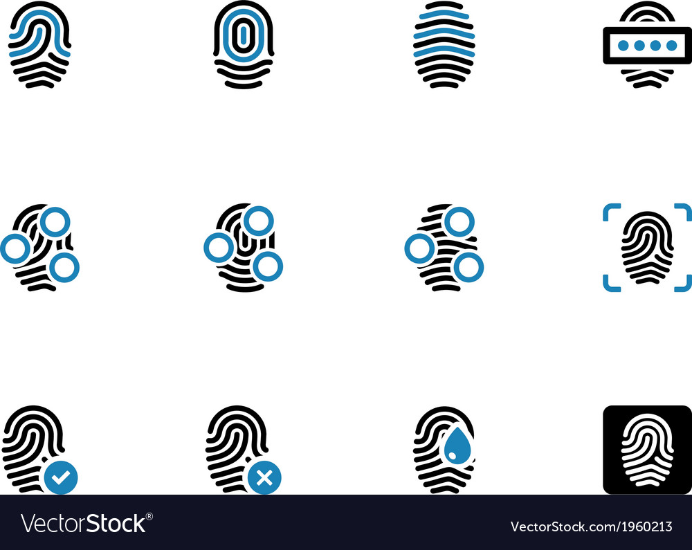 Fingerprint duotone icons on white background vector | Price: 1 Credit (USD $1)