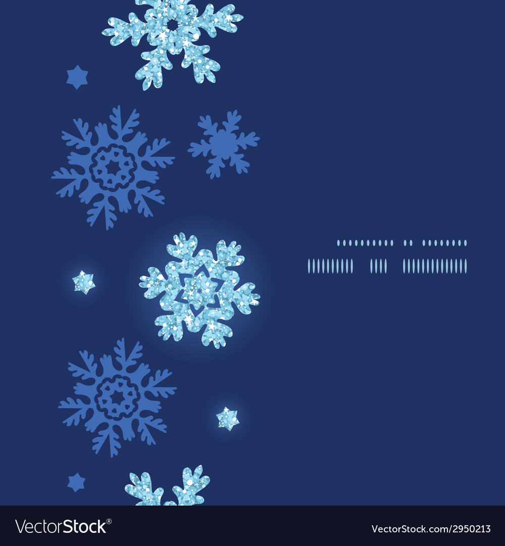 Glitter snowflakes dark vertical frame seamless vector | Price: 1 Credit (USD $1)