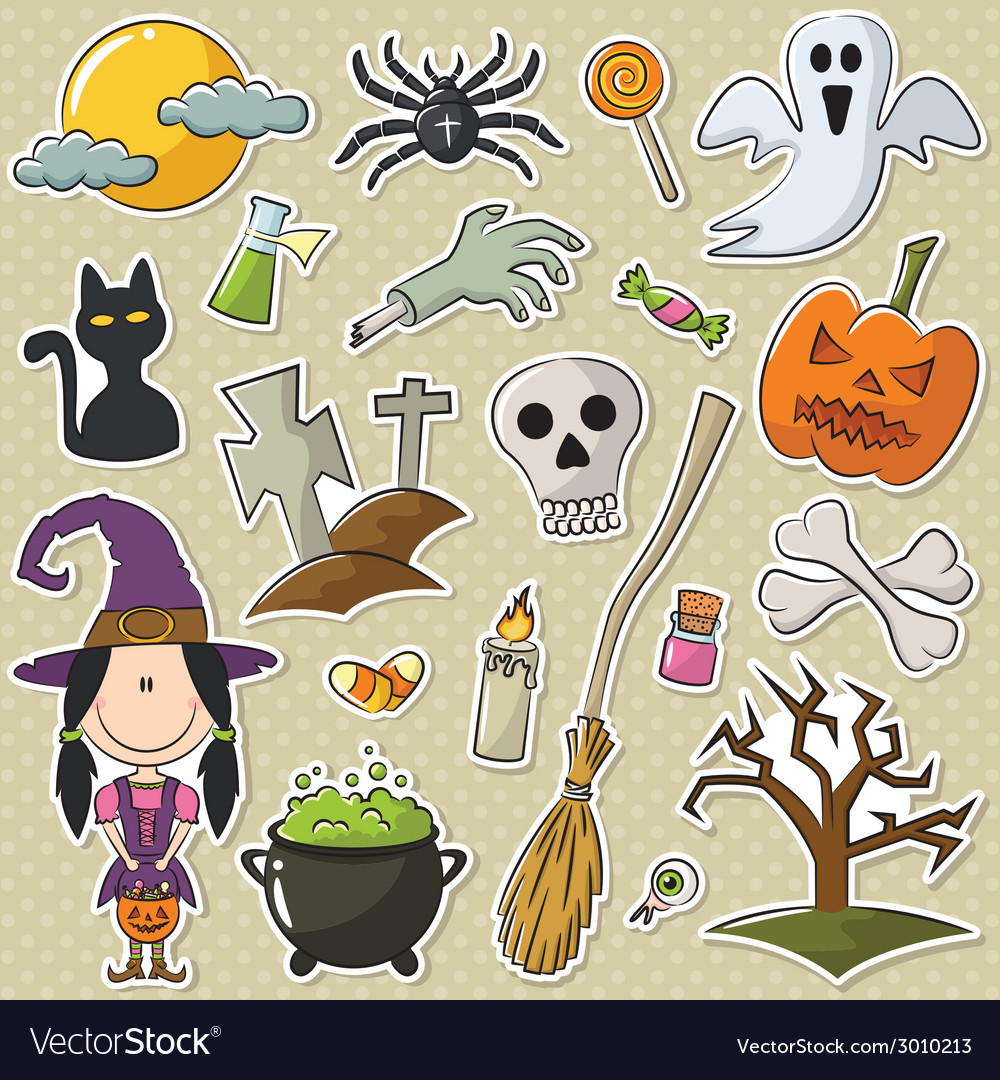 Halloween objects stickers set vector | Price: 1 Credit (USD $1)
