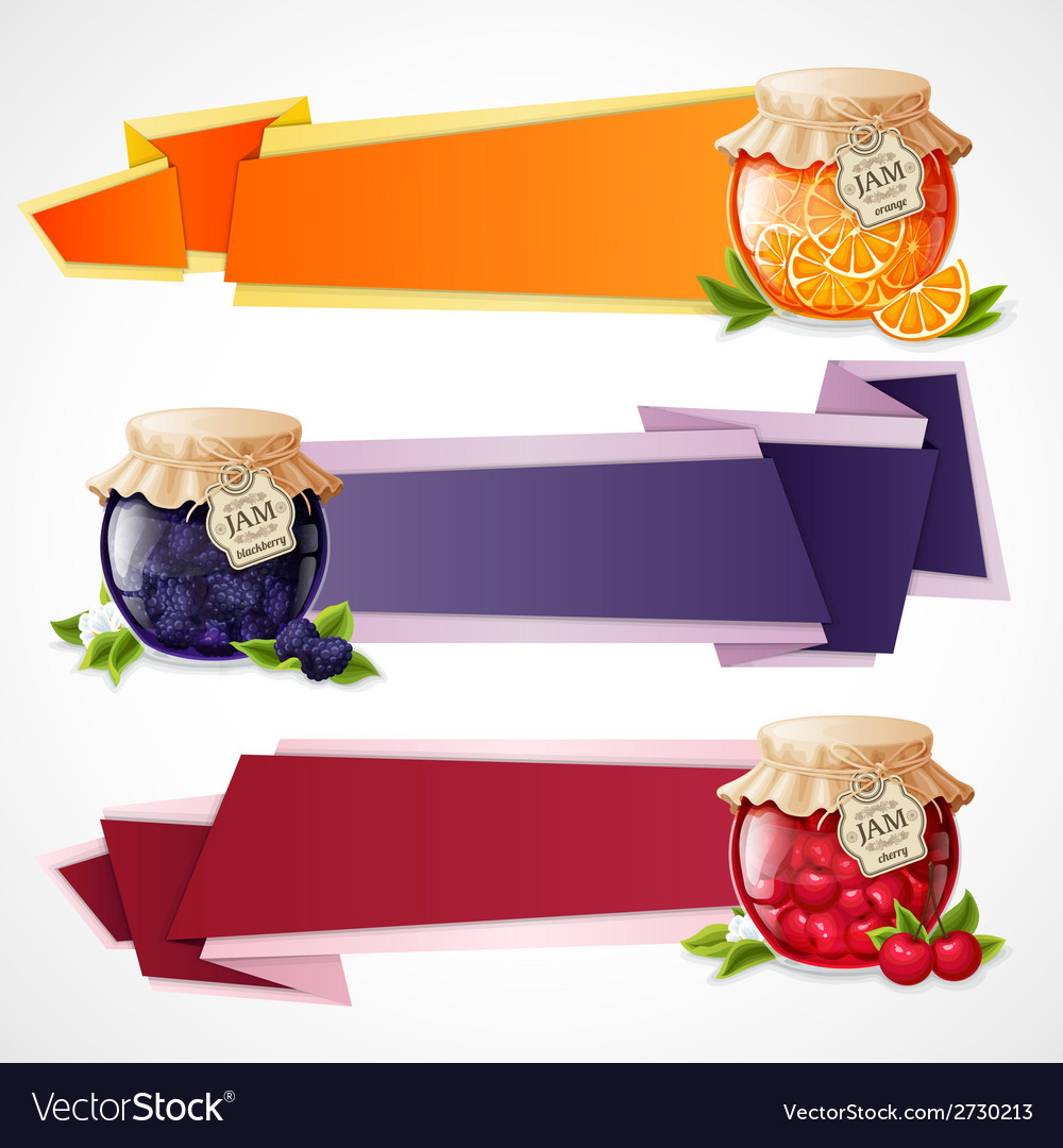 Jam origami banners set vector | Price: 1 Credit (USD $1)